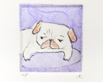 """Drypoint Etching mini print with Chine-collé, """"Purple Pug"""", Original Hand-pulled Fine Art Print"""