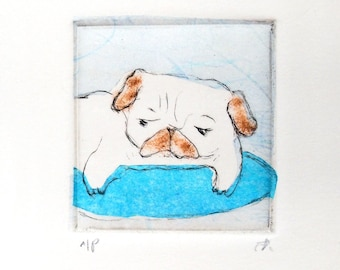 """Drypoint Etching mini print with Chine-collé, """"Blue Pug"""", Original Hand-pulled Fine Art Print"""