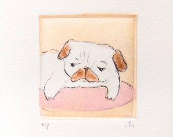 """Drypoint Etching mini print with Chine-collé, """"Pink Pug"""", Original Hand-pulled Fine Art Print"""
