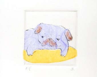 """Drypoint Etching mini print with Chine-collé, """"Violet Pug"""", Original Hand-pulled Fine Art Print"""