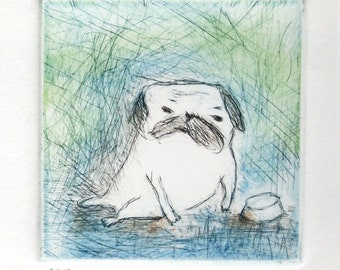"""Drypoint Etching print with Chine-collé, """"pug in blue"""", Original Hand-pulled Fine Art Print"""