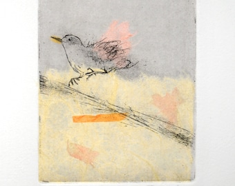 Etching print with Chine-collé, Starling in motion, original hand-pulled etching Fine Art Print
