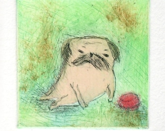 """Drypoint Etching print with Chine-collé, """"pug"""", Original Hand-pulled Fine Art Print"""