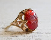 Vintage 1970s Scarab Beetle Genuine Carnelian Stone 18k Yellow Gold Electroplated Ring Made in USA R419