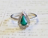 Vintage Teardrop Emerald and Clear Swarovski Crystals 18k White Gold Electroplated Made in USA R129