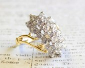 Vintage Clear Swarovski Crystals 18k Yellow Gold Electroplated Cluster Cocktail Ring Made in USA R175