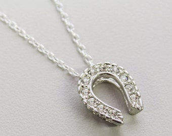 Vintage White Gold Tone Horseshoe Necklace Made in the USA  #N1236