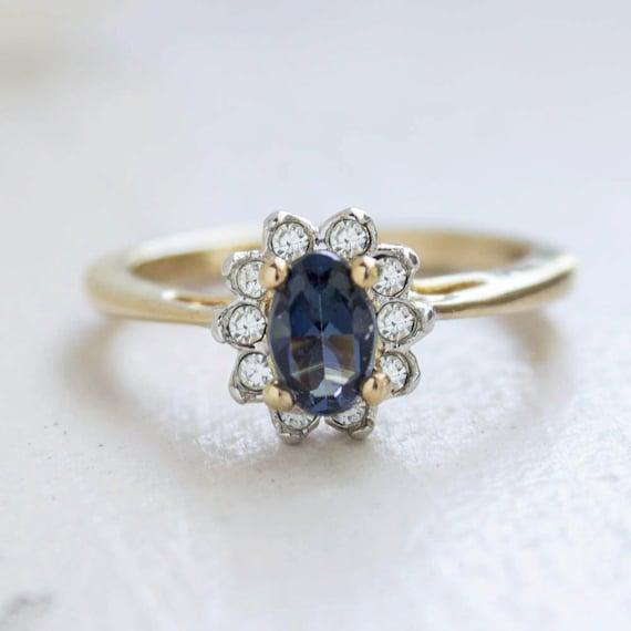 Vintage Sapphire Crystal Ring set with Clear Swarovski  3db5b204a701