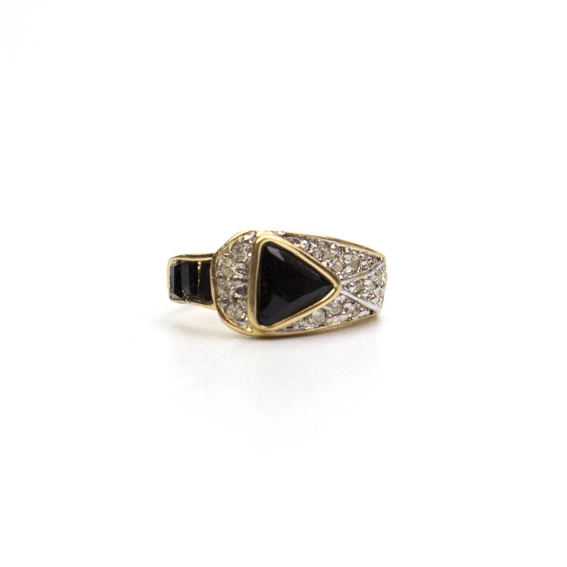 4ca7fae1f3bc6 Vintage Ring Pave Trillion Cut Black and Clear Swarovski Crystals 18k  Yellow Gold Electroplated Made in USA R2932