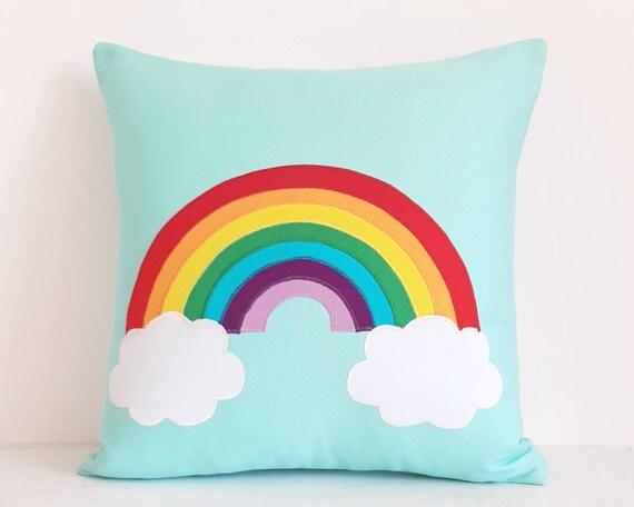 Bright Rainbow Cloud Cushion, Kids Rainbow decor