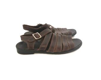 7df75813844 Vintage Brown Leather Nine West Strappy Sandals