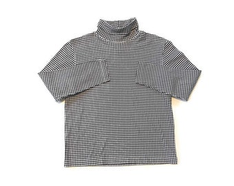 dc74e61b5c8eec 90s Black and White Checkered Print Turtleneck Shirt