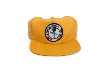 177fd769475 Jahrgang Senf gelb elektrische Trucker Mütze