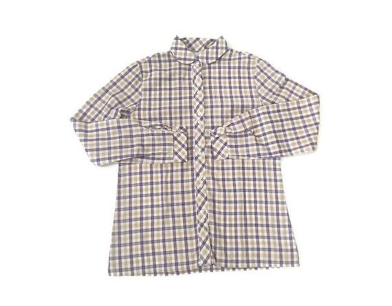 Vintage 70s Plaid Peter Pan Collar Shirt