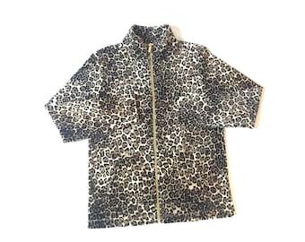 Vintage Leopard Print Fleece Zip Up Jacket
