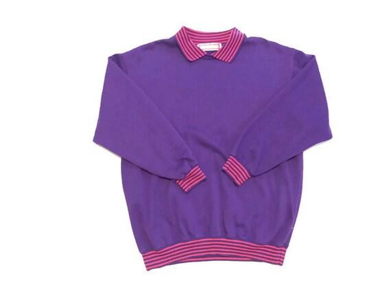 80s Purple Crewneck Sweatshirt Wit Built In Pink Collar With Waist And Wrist Cuffs