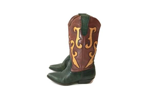 de serpent cow de de boy vert Vintage bottes la peau des Nine West Udwvxxqf