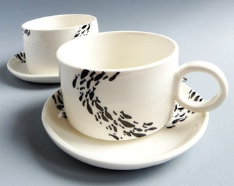 Set of 2 porcelain coffee cups and cups, unique pieces made and painted by hand + Touillettes, Fish bank and sea