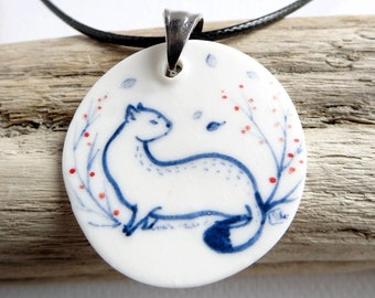 """Porcelain necklace """"The white ermine"""" painted by hand - One of a kind"""