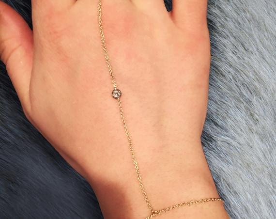 Diamond Dima Hand Chain in 14k Gold