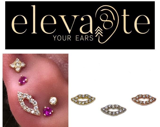 Tiny Diamond Lip Stud Earring