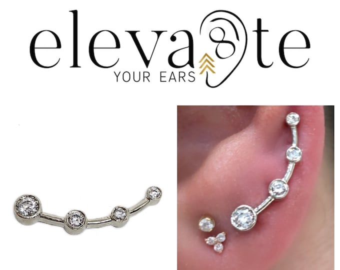 Four- Point Diamond Bezel Ear Crawler