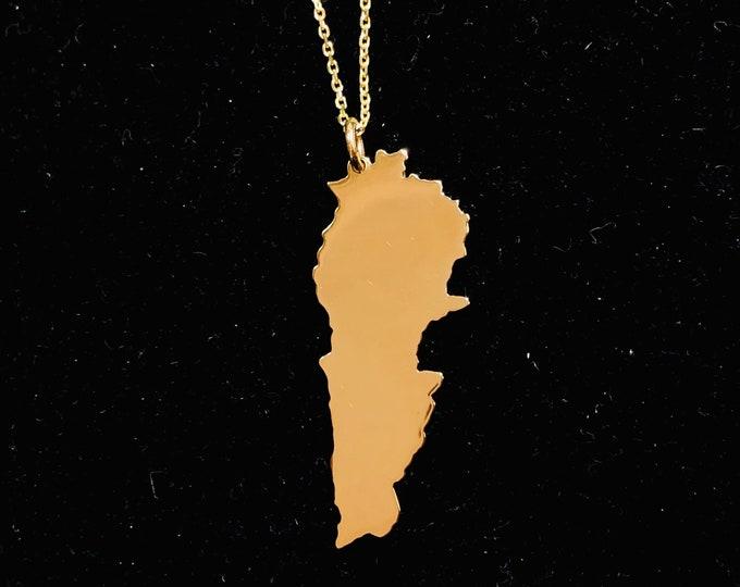 Map of Lebanon in 14K gold