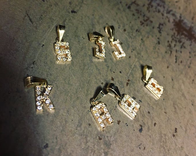 Petite Diamond Initial Pendant in 14k Gold
