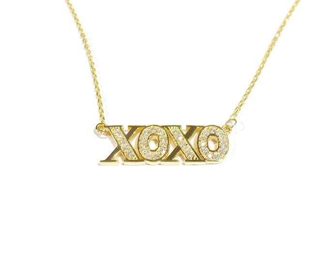 Diamond XOXO Necklace in 14k Gold