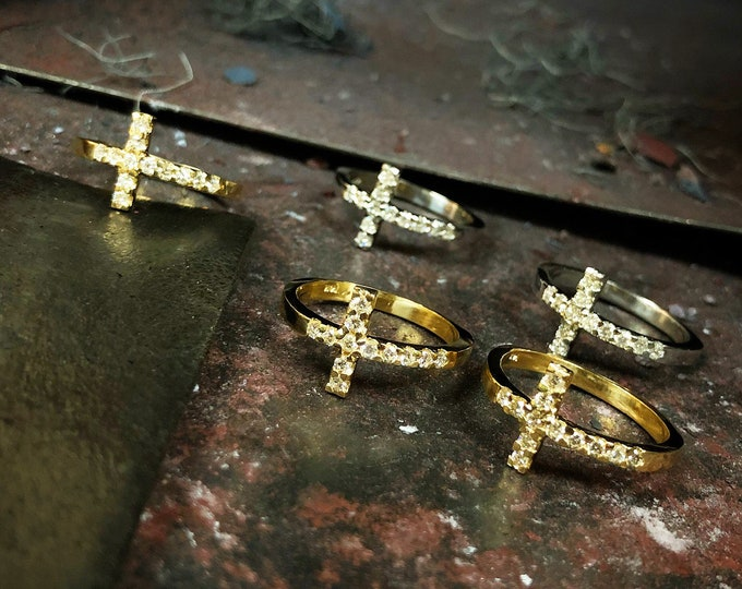 Diamond Sideways Cross Ring in 14k Gold