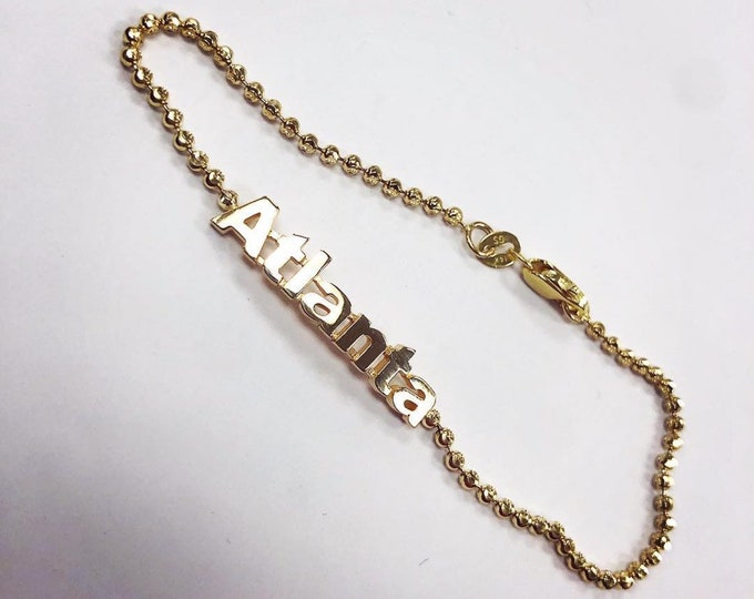 Custom Name bracelet in 14k Gold