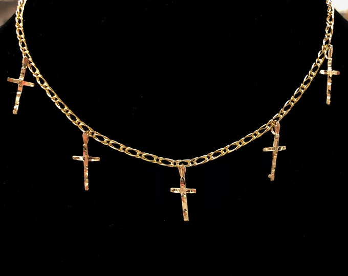 5 Cross Choker in 14k Gold