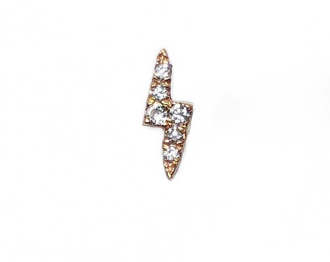 Tiny Diamond Lightening Bolt Stud