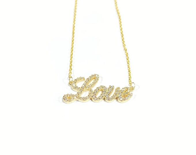 Diamond Love Necklace in 14k Gold