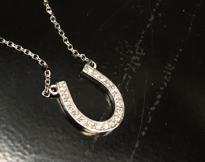 Lucky Diamond Horseshoe Necklace in 14k Gold