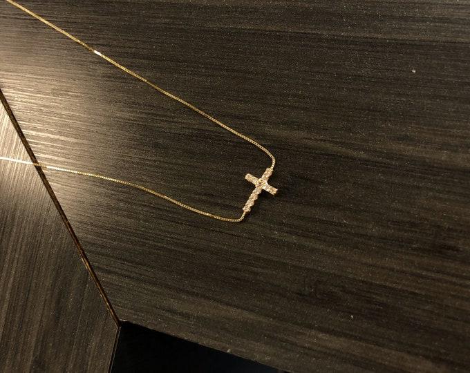 Amanda Sideways Diamond Cross Necklace in 14K Gold