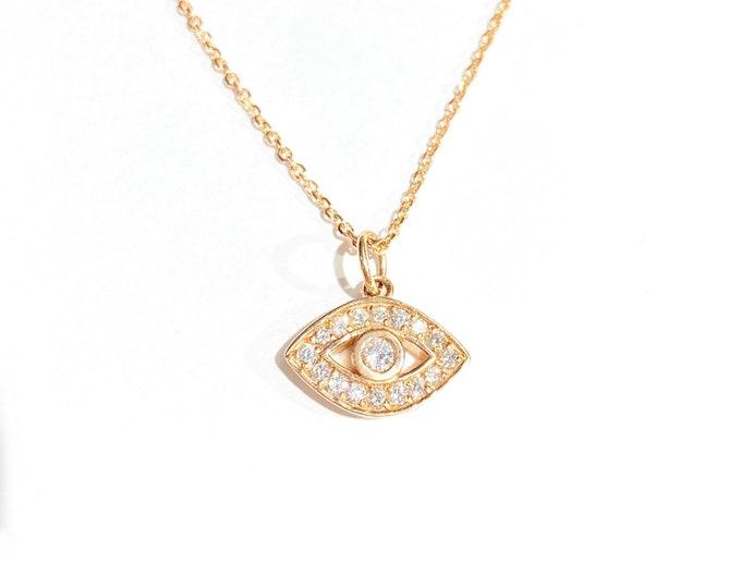 XL Diamond Evil Eye Pendant in 14k Gold