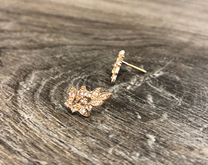 Diamond Deco Earrings in 14k Gold