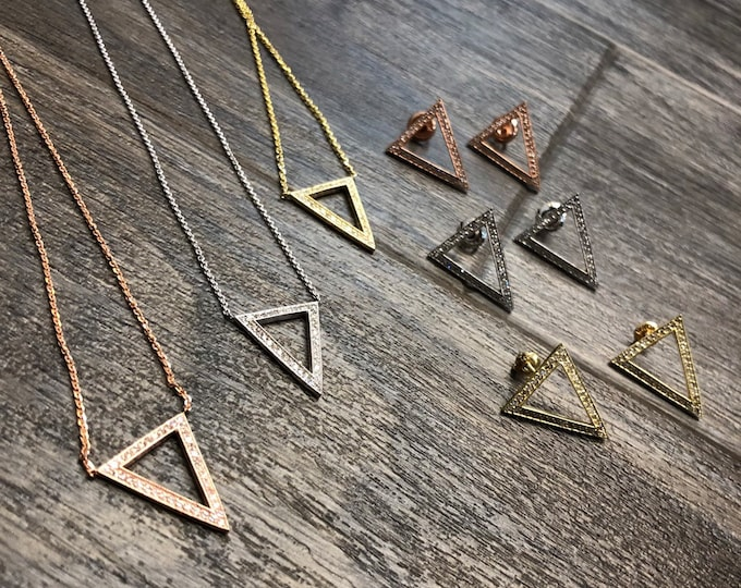 Diamond Triangle Earrings and Necklace Set in 14k Gold