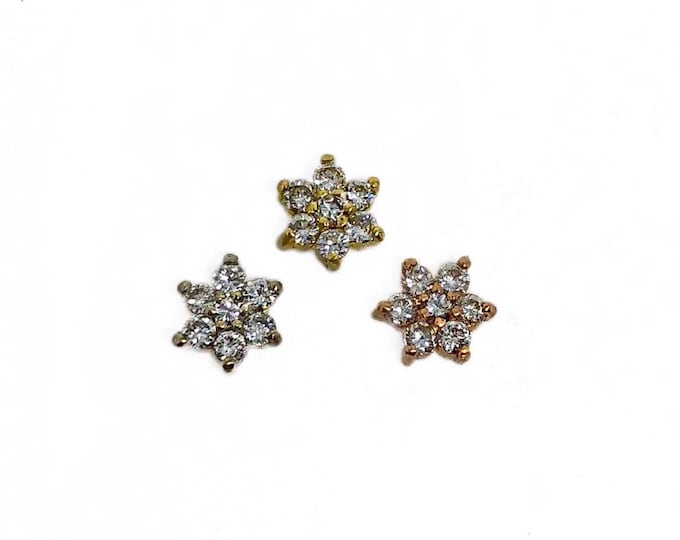 Tiny Diamond Flower Stud