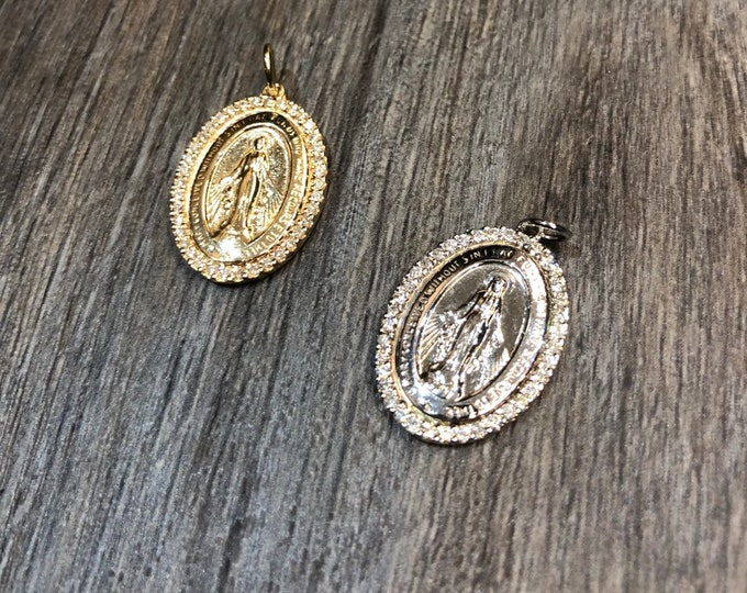 Mini Diamond Mary Medallion in 14k gold