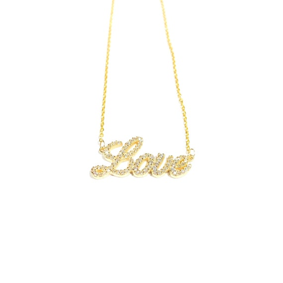 Diamond Love Necklace in 14k Gold
