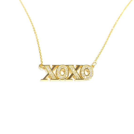 Diamond XOXO Necklace in 14k Gold