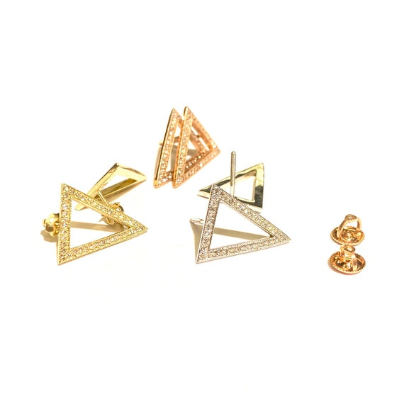 Diamond Triangle Earrings in 14k Gold