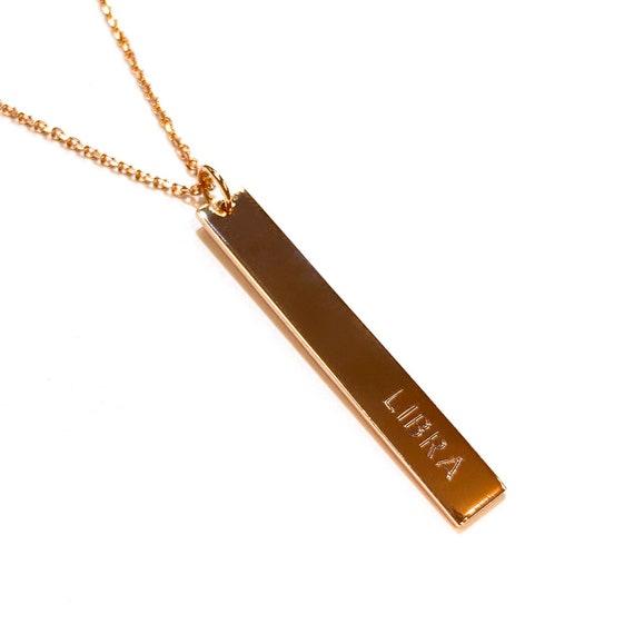 Vertical Zodiac Sign Bar Pendant in 14k Gold