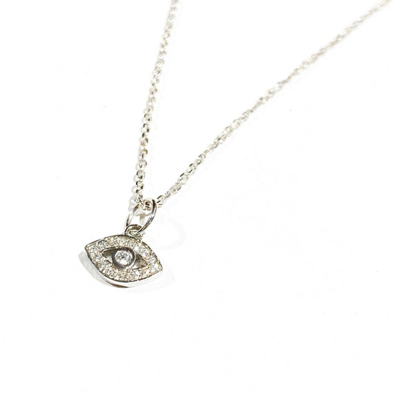 Petite Diamond Evil Eye Pendant in 14k Gold