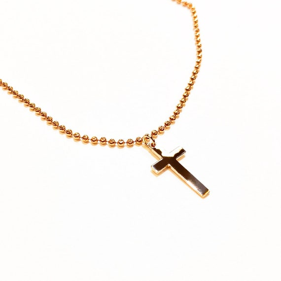 Cassie Choker with Classic Cross Combo in 14k Gold
