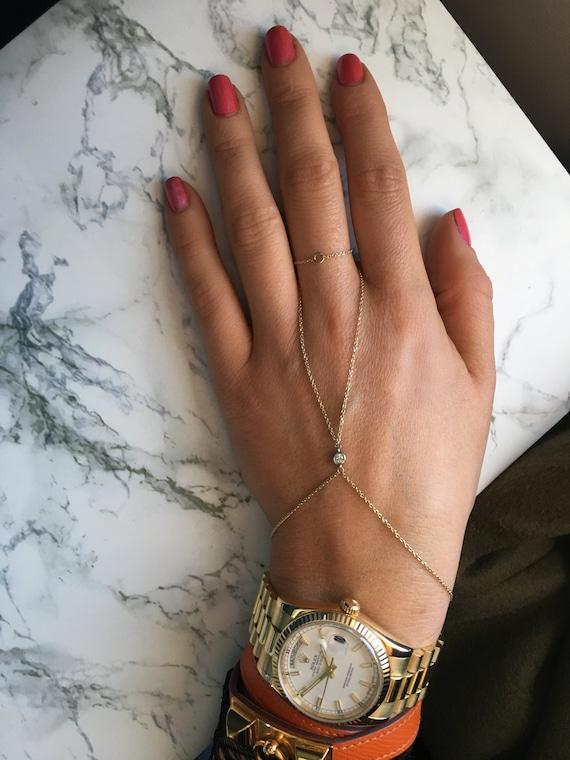 Diamond Samantha Hand Chain in 14k Gold