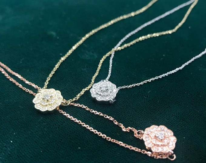 Diamond Blossom Necklace in 14k Gold