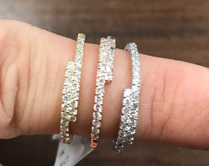 Diamond Offset Stackable Ring in 14k Gold